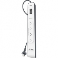 Belkin 4-Outlet Surge Suppressor/Protector - 4x AC Power - 2x USB Power