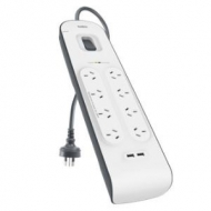 Belkin 8-Outlet Surge Suppressor/Protector - 8x AC Power - 2x USB Power